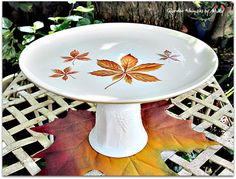 Autumn Leaves Cake Plate / Pedestal Stand by GardenWhimsiesByMary