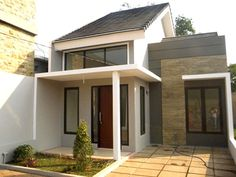 70 Examples of Simple House Models that Look Luxurious and Modern - House Designs Simple House Design, House Front Design, Modern House Design, Garage House Plans, Small House Plans, Minimalis House Design, White Exterior Houses, Ville France, Bungalow House Design