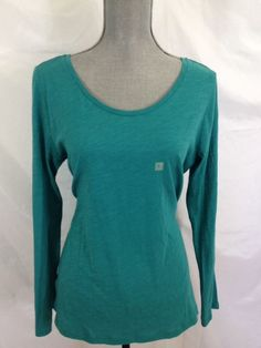 NEW Ann Taylor LOFT Teal Scoop Neck Shirt Large L Long Sleeve 100% Cotton Solid #AnnTaylorLOFT #KnitTop #Casual