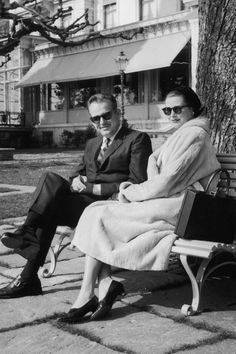 Princess Grace and Prince Rainier outside a hotel in Lausanne during a holiday to Switzerland, 1957