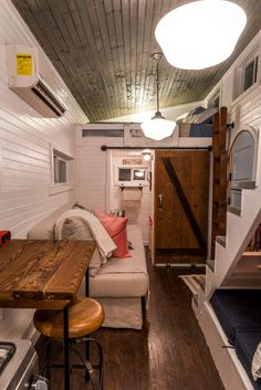 Interior view of the Old Blue Chair tiny house located outside of Chattanooga, TN.