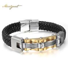 Men Vintage Bracelet, Meaeguet Leather, Silver & Gold Plated Fashion