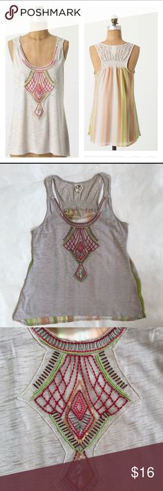 """Anthropologie One September Beaded Tank Super cute Anthropologie One September Beaded Tank size small.  Excellent preloved condition. beading on the chest and crochet feel on the back. 65% polyester and 35% cotton. 16"""" from underarm to underarm and 25"""" long in front and 26.5"""" in back. Anthropologie Tops Tank Tops"""