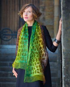 felted scarf felt scarf nuno wool silk art nunofelt