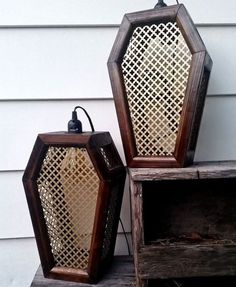 Coffin lights by LifeAfterDeath designs - Oh how I wish these were bug zappers! Gothic Furniture, Cool Furniture, Goth Home, Gothic Home Decor, Gothic House, Halloween House, Casket, My New Room, My Dream Home