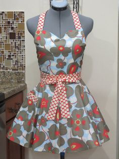 Sweetheart Hostess Apron Amy Butler Lotus by ApronsByVittoria, $35.00