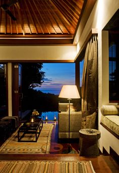 Night time. Sunset, a warm breeze, getting ready for tonight's treats in the restaurant.