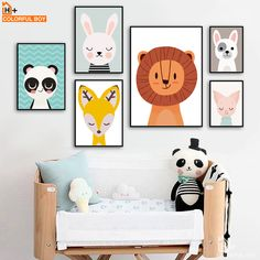 Art Wall Kids, Art For Kids, Wall Art, Baby Room Art, Animal Posters, Animal Paintings, Animals For Kids, Kids Room, Toddler Bed
