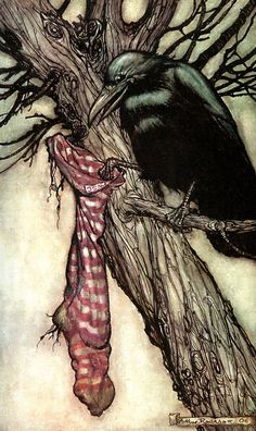 'For years he had been quietly filling his stocking' by Arthur Rackham, from Peter Pan in Kensington Gardens by J. M. Barrie, 1906.
