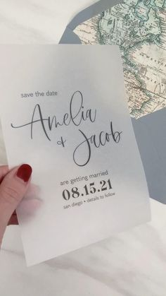 These vellum save the dates are perfect for a modern or minimalist wedding. Add our map envelope liners for a travel themed wedding or destination wedding!