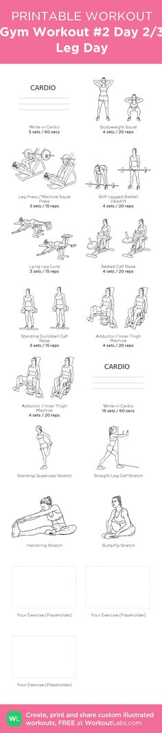 Gym Workout #2 Day 2/3 Leg Day – my custom workout created at http://WorkoutLabs.com • Click through to download as printable PDF! #customworkout