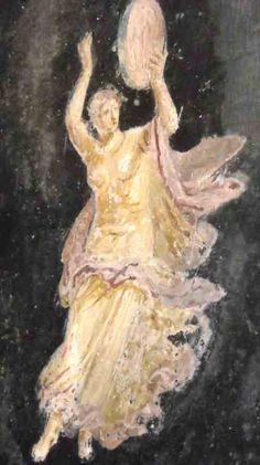 Goddess with Frame Drum Fresco, Ancient Roman Clothing, Rome Painting, Frame Drum, Ancient Goddesses, Greek Pottery, Music Illustration, Witch Aesthetic, Greek Art