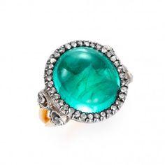 An antique cabochon emerald and diamond ring, circa 1880