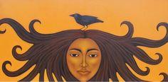 Mexican Sun Goddess with Crow Folk Art Primitive by goddessgallery