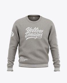 Men's Heather Crew Neck Sweatshirt - Front View Of Sweater. Men's heather crew neck sweatshirt with ribbed collar, sleeve cuffs and bottom hem. Team T Shirts, Shirt Mockup, Apparel Design, Crew Neck Sweatshirt, Box Mockup, Mockup Templates, 3 D, Macbook, Sweatshirts