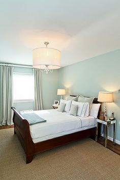 Here is Palladian Blue by Benjamin Moore. I am seriously considering using this peaceful blue-green for the entry walls.
