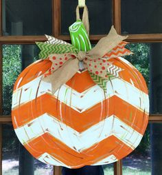 Pumpkin Wooden Door Hanger / Hand Painted by SouthernWhimsyStyle