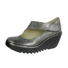 Fly London Womens Yasi Shoes Silver (Black)