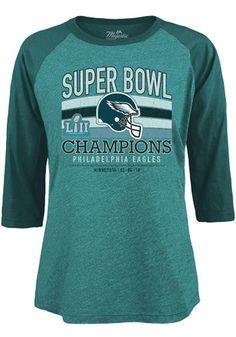 486084ef Philadelphia Eagles Womens 2018 Super Bowl Champions Midnight Green LS Tee