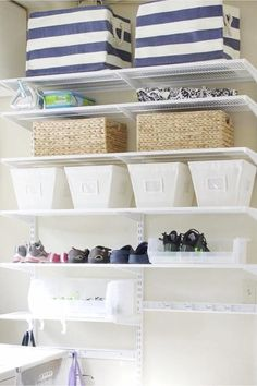 Maximizing space in a small house with no storage - beautiful organized shelves to create more organized storage space #gettingorganized #organizationideasforthehome