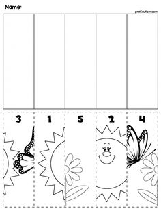 Teach counting skills with this Spring Cut & Order Worksheet! Great for teaching 1:1 counting skills and number recognition for numbers 1-5. No prep and great for math centers! #preschool #preschoolers #preschoolactivities #kindergarten #Homeschooling #mathcenters #spring