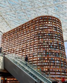 Located in the center of COEX Mall, Starfield Library is an open public space where anyone can freely come to sit down, take a break, and… World Library, Take A Break, Mall, Shots, Louvre, Public, Canning, Space, Building