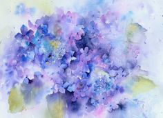 Abstract Watercolor Art, Watercolor And Ink, Watercolor Flowers, Watercolor Paintings, Flower Canvas, Flower Art, Hydrangea Painting, Alcohol Ink Painting, Watercolors