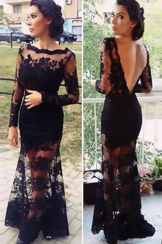 Charming Prom Dress,Long Sleeve Prom Dress,Black Lace Prom