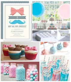 Pink and blue, bows and mustache-themed gender reveal baby shower!