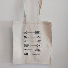 Cotton Canvas tote bag arrows print