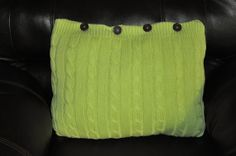 RYLO lime green cable knit throw pillow with brown by RYLOwear, $22.00