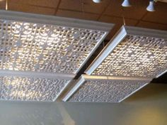 Hide florescent lights in your home or office with these lattice covers. LOTS of great ideas here!