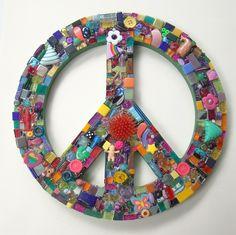 Funky Found Object Mosaic Peace Sign ReTRo Wall Art DOODLES. $64.00, via Etsy.