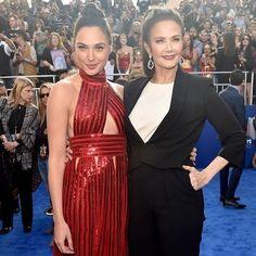 Two wondrous women. #GalGadot and #LyndaCarter at the #WonderWoman premiere in LA.