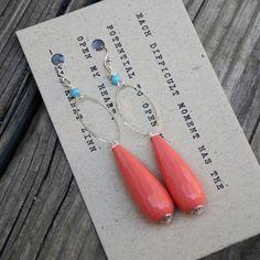 Coral Dangle Earrings - Handmade by Simple Joys