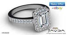 Pre-Set Halo Emerald Diamond Engagement Ring GIA H SI1 Clarity Platinum 1.35 ct
