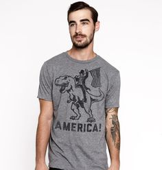 Abraham Lincoln on a T-Rex = America.Ultrasofttriblend crew neck t-shirt.