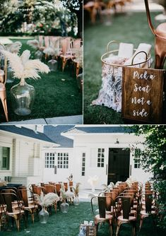 Modern meets rustic at this outdoor ceremony featuring pampas grass and copper chairs | Image by Lindsay Vann Photography