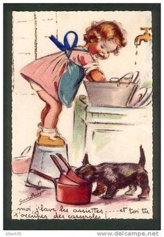 Artist:Germaine Bouret French Me, I'm washing dishes . and you, you take care of pots and pans!et toi, tu t'occupes des casseroles ! Vintage Pictures, Vintage Images, Art Pictures, Vintage Artwork, Vintage Prints, Scottie Dog, Vintage Greeting Cards, Children's Book Illustration, Dog Art