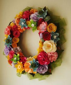 Paper Flower Wreath Spring has Sprung by SweetPeasPaperFlower, $70.00