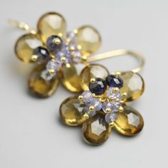 Etsy seller fussjewelry - Flower Earrings in Honey Quartz with Iolite and Tanzanite Clusters