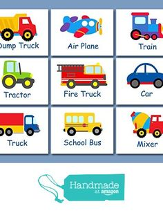 Transportation Wall Art, Transportation Nursery Wall Art,Transportation Decor,Construction Cars Planes Train Fire Truck Art,Trains, Planes and Trucks -UNFRAMED set of 9 PRINTS (NOT CANVAS) from Sweet Blooms Decor https://www.amazon.com/dp/B01AO8M2MQ/ref=hnd_sw_r_pi_dp_I6IeybXRYVH31 #handmadeatamazon