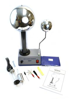 Eisco Labs Volt Van De Graaff Kit with 10 Electrostatic Attachments Electrostatic Generator, Science Demonstrations, Acrylic Tube, Homeschool Supplies, Site Internet, Kit, Teaching Materials, Shopping, Accessories