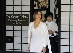 For a visit to the Morikami Museum and Japanese Gardens with Azie Abe the wife of Japan's prime minister First Lady Melania Trump wore a white cashmere knitted Calvin Klein dress.  http://ift.tt/2lvXrsH