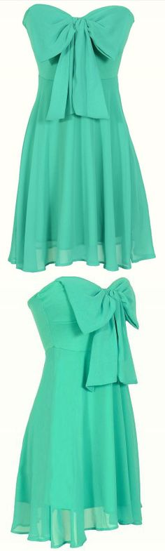 Mint Bow Dress - Sweetheart Strapless