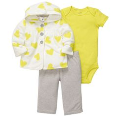 225304 Baby Girl (12-24M) Carter's Heart Cardigan Set