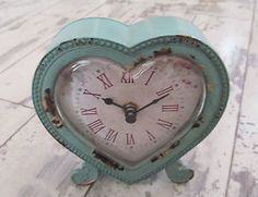 DUCK EGG BLUE FRENCH COUNTRY SHABBY CHIC HEART DESK MANTEL MANTLE BEDROOM CLOCK | eBay