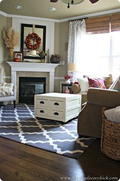 Thrifty Decor Chick: Coffee table redo and love the new rug. http://thriftydecorchick.blogspot.com/2012/10/coffee-table-redo.html October, 2012
