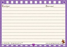 recipe-card-purple-plain Printable Recipe Cards, Craft Gifts, Gingerbread, Purple, Recipes, Crafts, Kid Craft Gifts, Manualidades, Ginger Beard