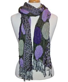 Take a look at this Green Polka Dot Fringe Scarf on zulily today!